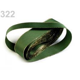 Stuha taftová s lurexom šírka 25mm olivová zeleň 10m