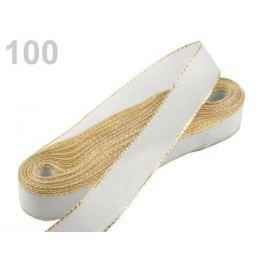 Stuha taftová s lurexom šírka 15mm biela 10m