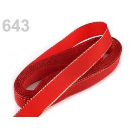 Stuha taftová s lurexom šírka 15mm červená šarlatová 10m