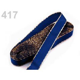 Stuha taftová s lurexom šírka 15mm modrá berlínska 10m