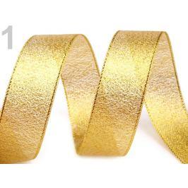 Brokátová stuha šírka 25 mm s lurexom zlatá 22.5m Stoklasa