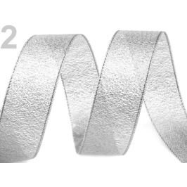 Brokátová stuha šírka 25 mm s lurexom strieborná 22.5m Stoklasa