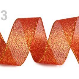 Brokátová stuha šírka 25 mm s lurexom červená sv. 22.5m Stoklasa