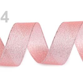 Brokátová stuha šírka 25 mm s lurexom ružová str. 22.5m Stoklasa