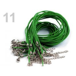 Voskovaná šnúrka s karabínkou dĺžka 45cm zelená sv. 1ks Stoklasa
