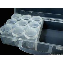 Plastový box / zásobník 13x26x6 cm s dózičkami Transparent 1ks Stoklasa