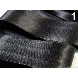 Šikmý prúžok saténový šírka 30mm zažehlený rozmeraný Black 20m