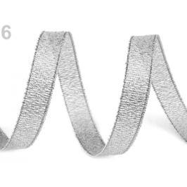 Brokátová stuha šírka 10 mm s lurexom strieborná 22.5m Stoklasa