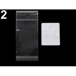 Karta na náušnice s visačkou a sáčikom  40x50 mm biela 20sada Stoklasa