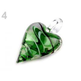Sklenený prívesok srdce 30x45 mm zelená pastelová 1ks Stoklasa