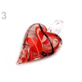Sklenený prívesok srdce 30x45 mm červená  1ks Stoklasa