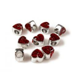 Kovové koráliky s veľkým prievlakom srdce 10x10 mm červená  2ks Stoklasa