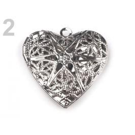 Medailónik srdce 26x26 mm otváracie platina 1ks Stoklasa