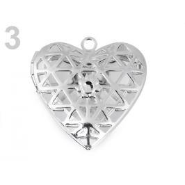 Medailónik srdce 26x26 mm otváracie strieborná sv. 1ks Stoklasa