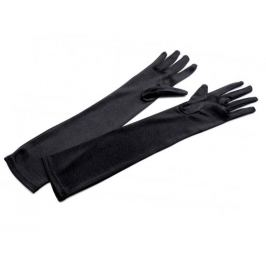 Dlhé spoločenské rukavice saténové čierna 1pár Stoklasa