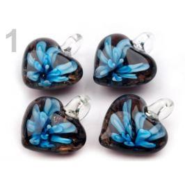 Sklenený prívesok srdce 21x21 mm modrá azuro 1ks Stoklasa