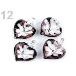 Sklenený prívesok srdce 21x21 mm biela 1ks Stoklasa