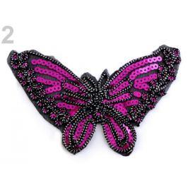 Nažehlovačka motýľ s flitrami fialovoruž refl. 1ks Stoklasa