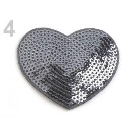 Nažehlovačka srdce s flitrami šedá 1ks Stoklasa