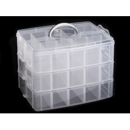 Plastový box / kufrík 3 poschodový s rukoväťou Transparent 1ks Stoklasa