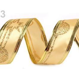 Vianočná stuha s glitrami a drôtom šírka 25 mm zlatá Sunset Gold 120m Stoklasa