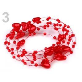 Perličky na silone Ø10mm dĺžka 130cm srdce červená 1ks Stoklasa