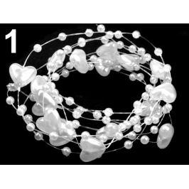 Perličky na silone Ø10mm dĺžka 130cm srdce biela 1ks Stoklasa