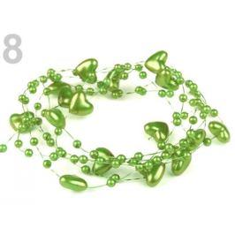 Perličky na silone Ø10mm dĺžka 130cm srdce zelená sv. 1ks Stoklasa
