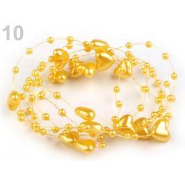 Perličky na silone Ø10mm dĺžka 130cm srdce žltá 1ks Stoklasa