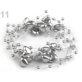 Perličky na silone Ø10mm dĺžka 130cm srdce strieborná 1ks Stoklasa