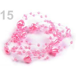 Perličky na silone Ø10mm dĺžka 130cm srdce ružová str. 1ks Stoklasa