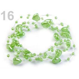 Perličky na silone Ø10mm dĺžka 130cm srdce zelená pastelová sv. 1ks Stoklasa
