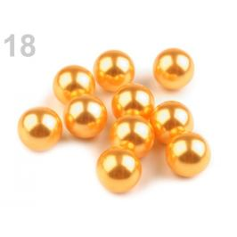 Dekoračné guľky / perly bez dierok  Ø10 mm horčicová 10ks Stoklasa