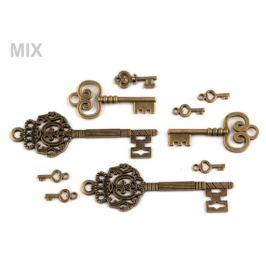 Prívesky kľúče mix veľkostí staromosadz 10ks Stoklasa