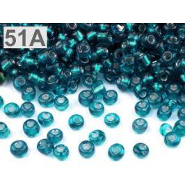 Rokajl sklenený 8/0 s prieťahom 3mm zelenomodrá tm 50g Stoklasa