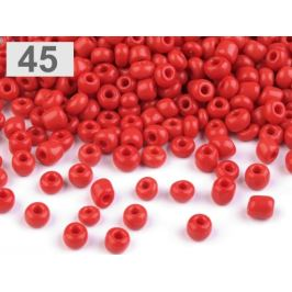 Rokajl  6/0 - 4 mm nepriehľadný červená rumelka 50g Stoklasa
