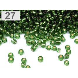 Perličky rokajl 12/0 s prieťahom 2mm zelené papradie 50g Stoklasa