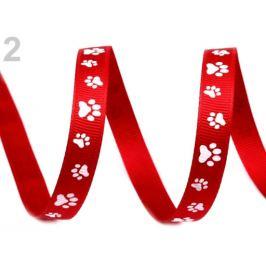 Stuha rypsová / popruh šírka 10 mm potlač tlapky červená 45m Stoklasa