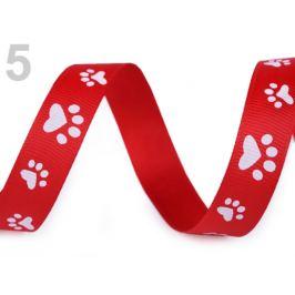 Rypsová stuha / popruh šírka 15 mm potlač tlapky červená 45m Stoklasa