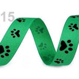 Rypsová stuha / popruh šírka 15 mm potlač tlapky zelená irská 45m Stoklasa