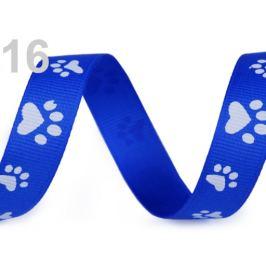 Rypsová stuha / popruh šírka 15 mm potlač tlapky modrá královská 45m Stoklasa