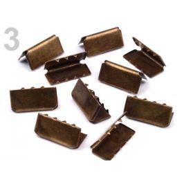 Koncovka kovová šírka 20 mm staromosadz 10ks Stoklasa