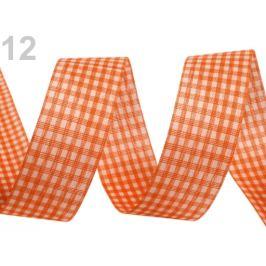 Károvaná stuha  rezaná šírka 25 mm oranžovoružová 45m Stoklasa