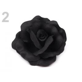Brošňa / ozdoba ruža Ø6 cm čierna 1ks Stoklasa