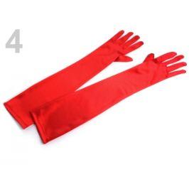 Dlhé spoločenské rukavice saténové červená 1pár Stoklasa