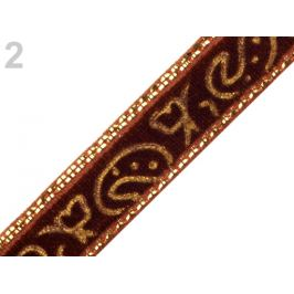 Zamatová stuha šírka 10 mm s lurexom hnedá 22.5m Stoklasa