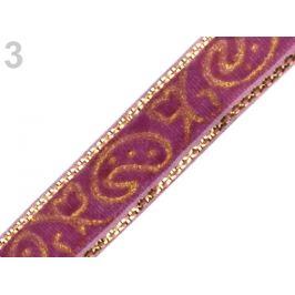 Zamatová stuha šírka 10 mm s lurexom staroružová tm. 22.5m Stoklasa