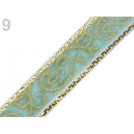 Zamatová stuha šírka 10 mm s lurexom tyrkys 22.5m Stoklasa