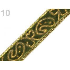 Zamatová stuha šírka 10 mm s lurexom zelená smaragdová 22.5m Stoklasa