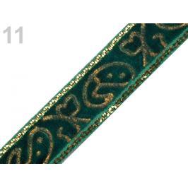 Zamatová stuha šírka 10 mm s lurexom zelená piniová 22.5m Stoklasa